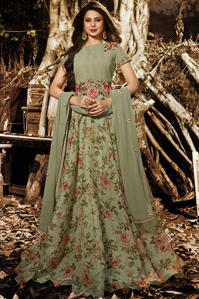 Olive Green Silk Floor Length Party Wear Suit