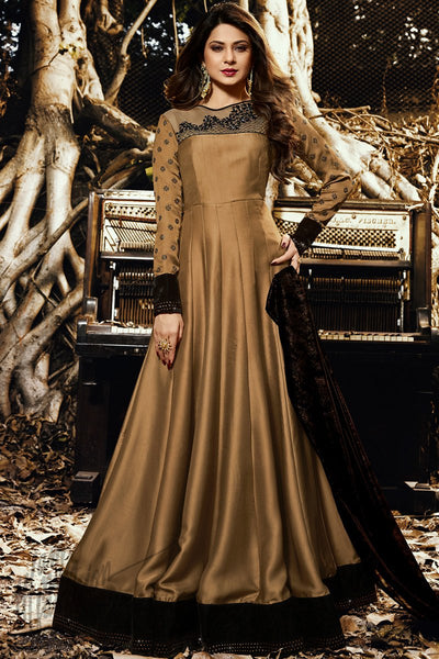 Gold and Brown Satin Silk Floor Length Party Wear Suit