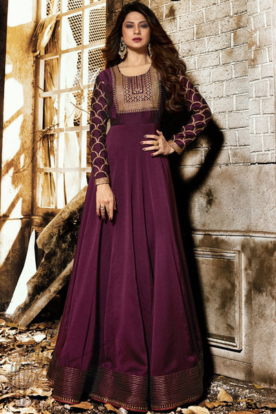 Wine Georgette and Silk Floor Length Party Wear Suit