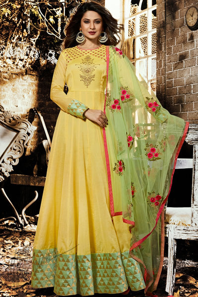 Yellow and Green Chanderi Silk Floor Length Party Wear Suit