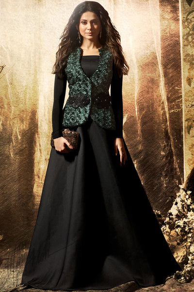 Black and Green Scuba and Velvet Floor Length Party Wear Gown