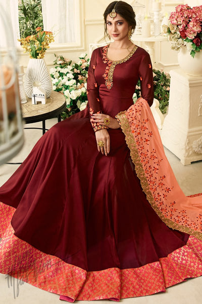 Wine and Peach Silk and Georgette Floor Length Party Wear Suit