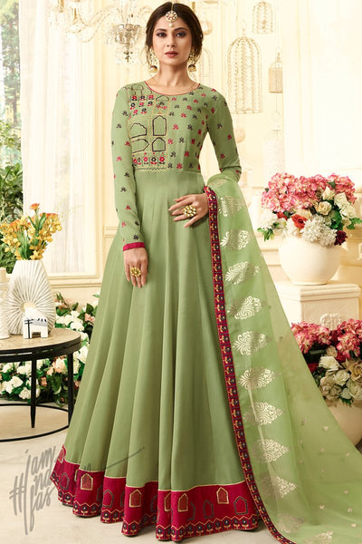 Green Silk Floor Length Party Wear Suit