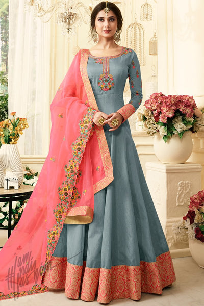 Stone Blue and Pink Silk Floor Length Party Wear Suit