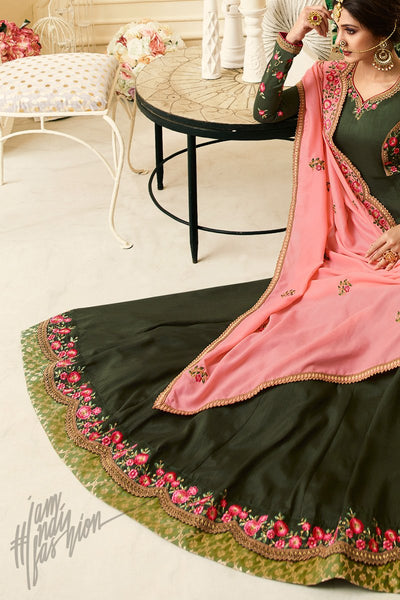 Dark Forest Green and Pink Silk Floor Length Party Wear Suit
