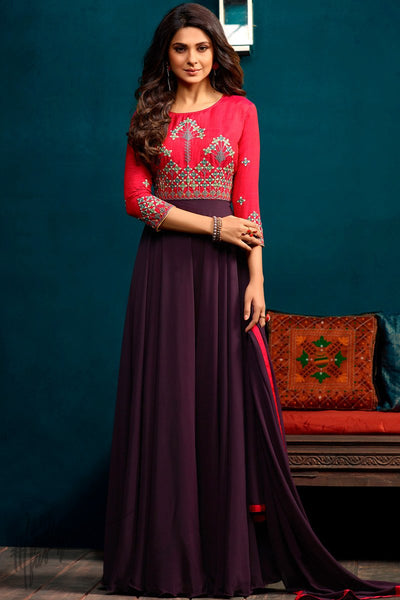 Red and Purple Georgette and Silk Length Gown