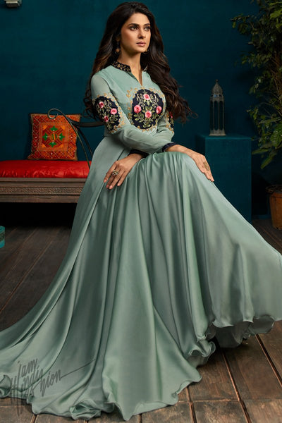 Pistachio Green Georgette and Silk Length Gown