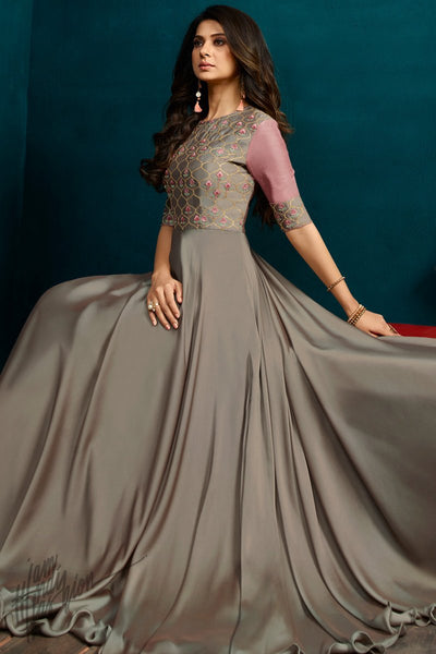 Gray and Onion Pink Georgette and Silk Length Gown