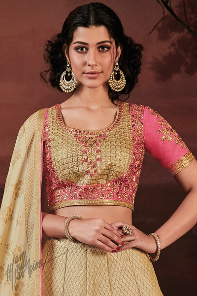 Pink and Pale Gold Melbourne Silk Lehenga Set