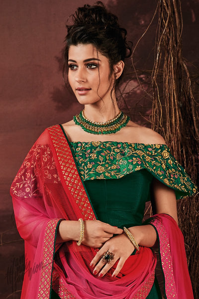 Forest Green and Red Silk Lehenga Set
