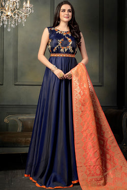 Navy Blue and Orange Taffeta Satin Silk Anarkali Suit