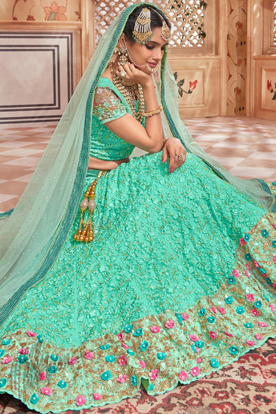 Sea Green Premium Net Wedding Lehenga Set