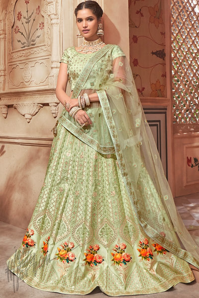 Light Olive Pure Satin Wedding Lehenga Set