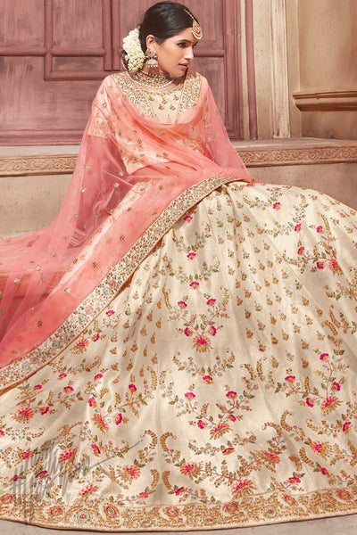 Cream and Peach Bangalori Silk Wedding Lehenga Set