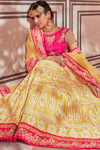 Pink and Yellow Net Wedding Lehenga Set