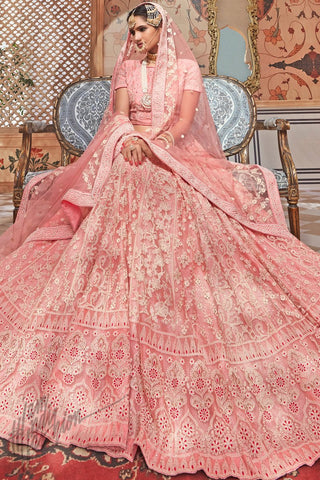 Baby Pink Net Wedding Lehenga Set