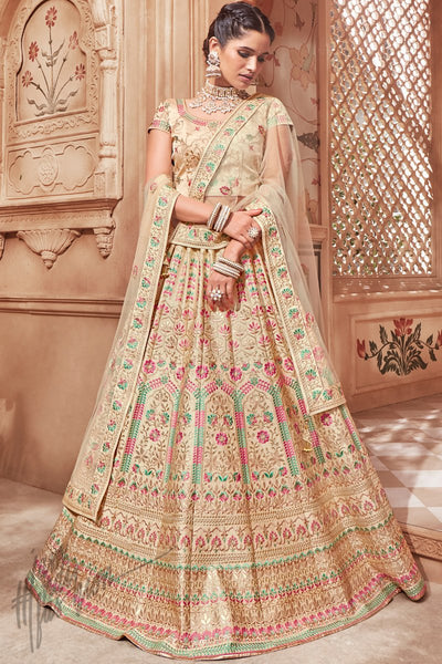 Beige Pure Satin Wedding Lehenga Set