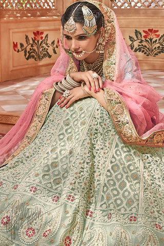 Sky Blue Light Green and Pink Net Wedding Lehenga Set