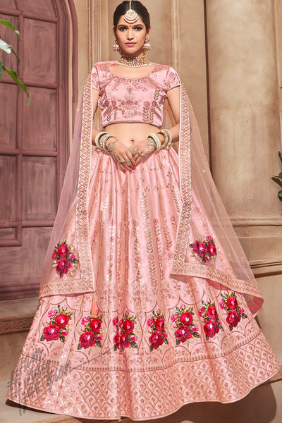 Baby Pink Pure Satin Wedding Lehenga Set