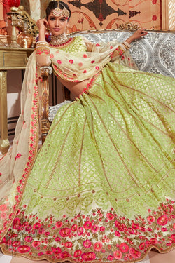 Mint Green Net Wedding Lehenga Set