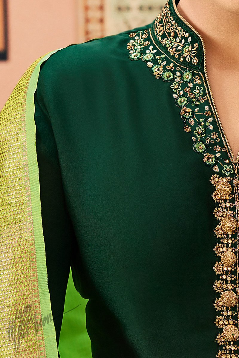 Forest and Parrot Green Palazzo Suit
