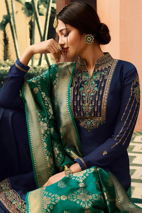 Navy Blue and Green Palazzo Suit