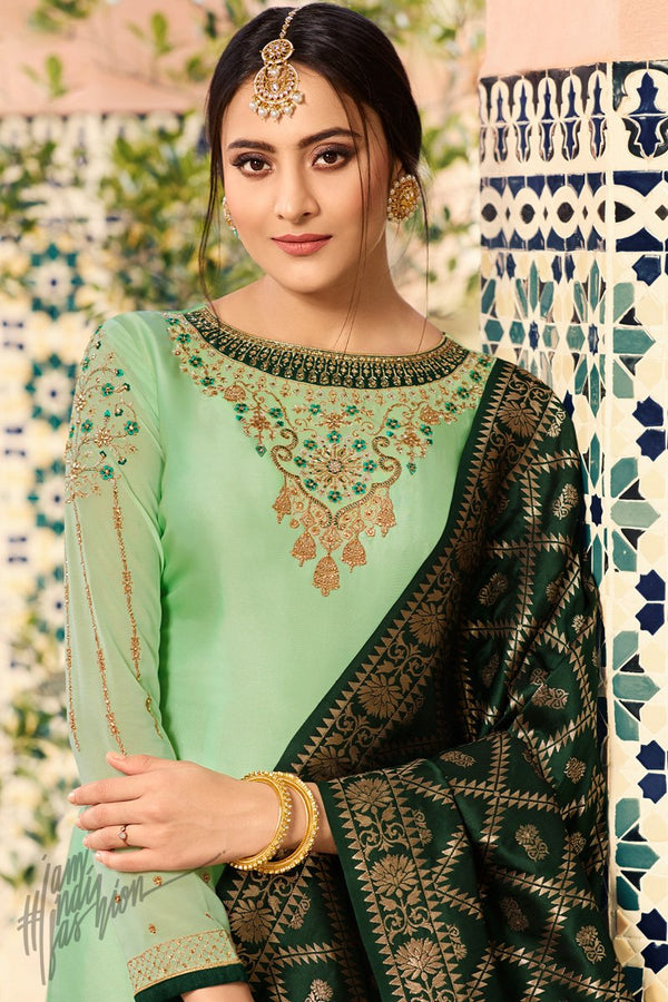 Mint and Dark Green Palazzo Suit