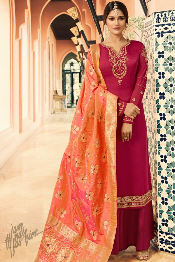 Magenta and Peach Palazzo Suit