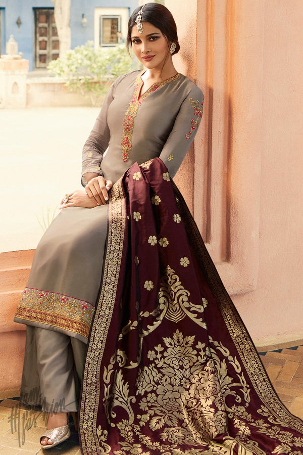 Coffee Gray and Wine Palazzo Suit