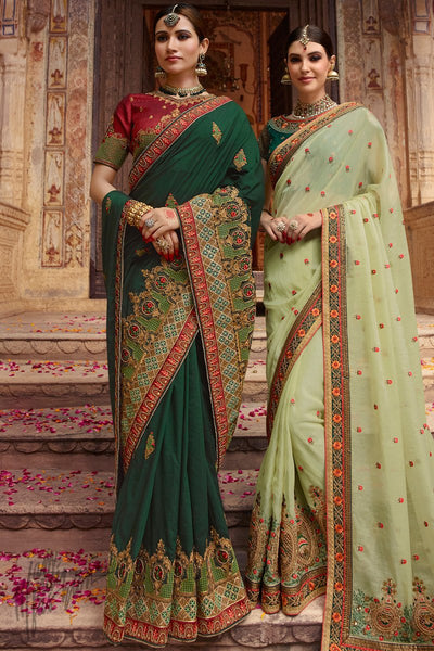 Bottle Green and Maroon Barfi Silk Wedding Saree