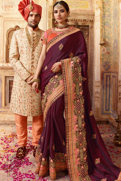 Wine Pink and Orange Barfi Silk Wedding Saree