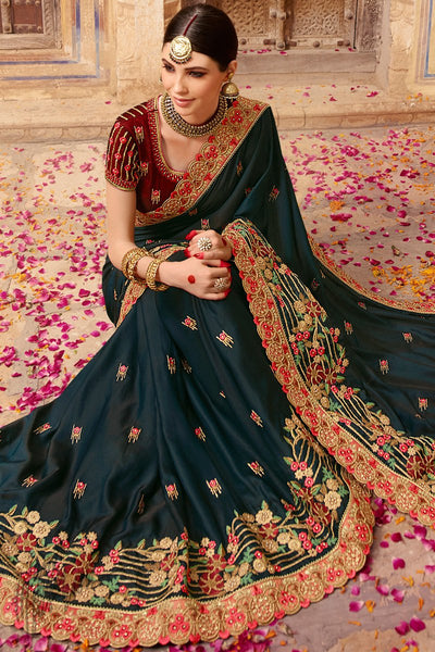 Dark Blue and Maroon Barfi Silk Wedding Saree