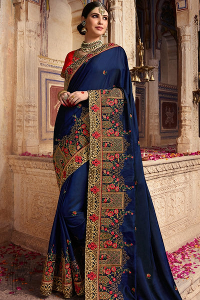 Navy Blue and Red Barfi Silk Wedding Saree