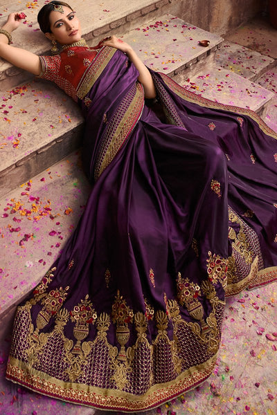 Dark Purple and Maroon Barfi Silk Wedding Saree