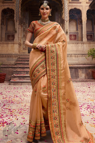 Beige and Orange Organza Silk Wedding Saree