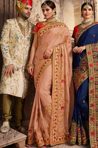 Peach and Red Gulmohar Silk Wedding Saree