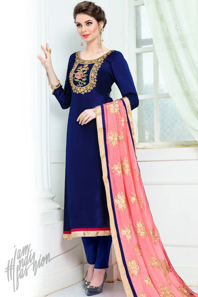 Blue and Peach Upadda Silk Straight Suit
