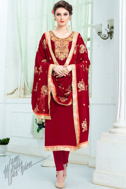 Red Upadda Silk Straight Suit