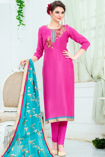 Fuchsia Pink and Sky Blue Upadda Silk Straight Suit