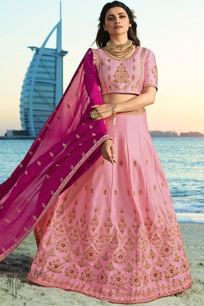 Mauve and Purple Silk and Chiffon Lehenga Set