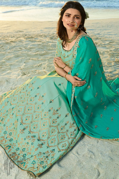 Sky Blue Silk and Chiffon Lehenga Set