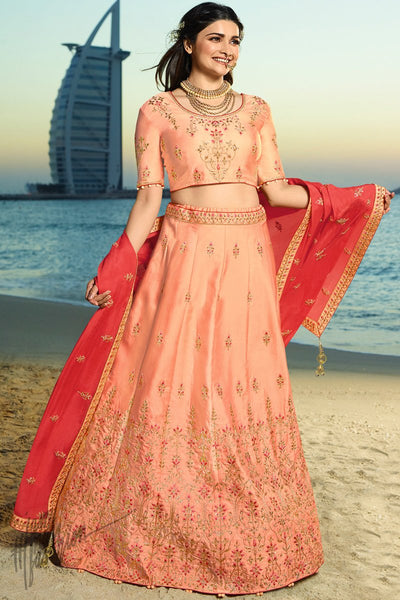 Peach and Red Silk and Chiffon Lehenga Set
