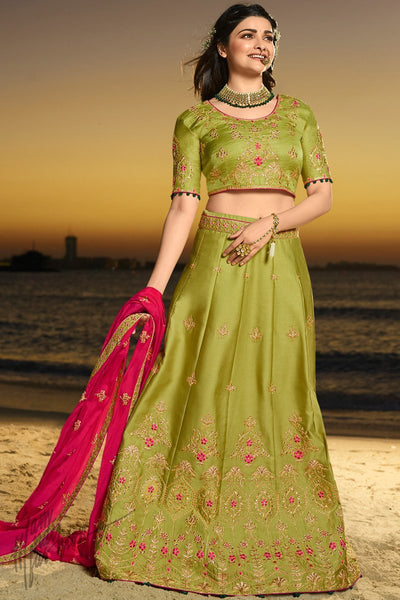 Mehandi Green and Magenta Silk and Chiffon Lehenga Set