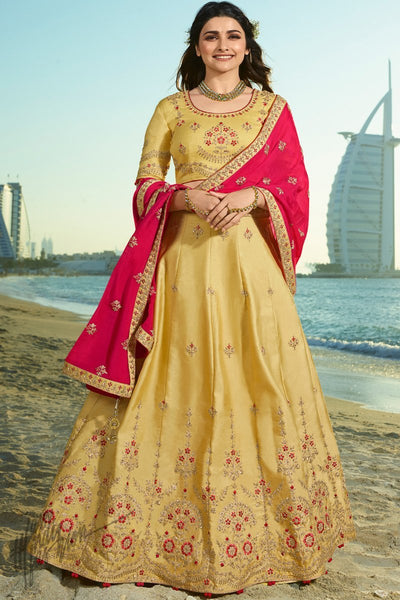 Mustard and Magenta Silk and Chiffon Lehenga Set