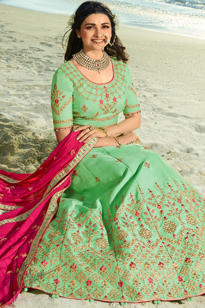 Mint Green and Magenta Silk and Chiffon Lehenga Set
