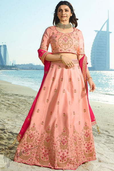 Baby Pink and Magenta Silk and Chiffon Lehenga Set