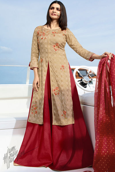 Beige and Maroon Silk Party Wear Gown