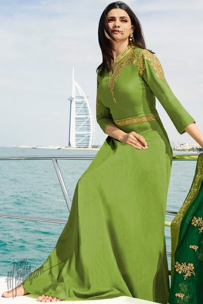 Green Silk Party Wear Gown