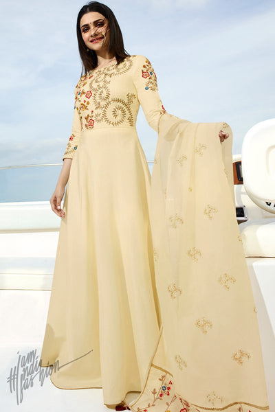 Cream Silk Party Wear Gown