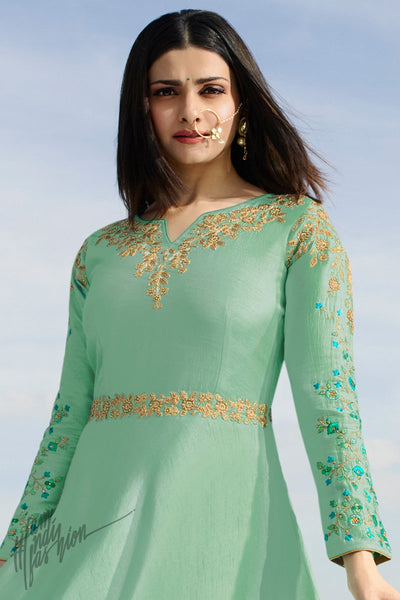Mint Green Silk Party Wear Gown